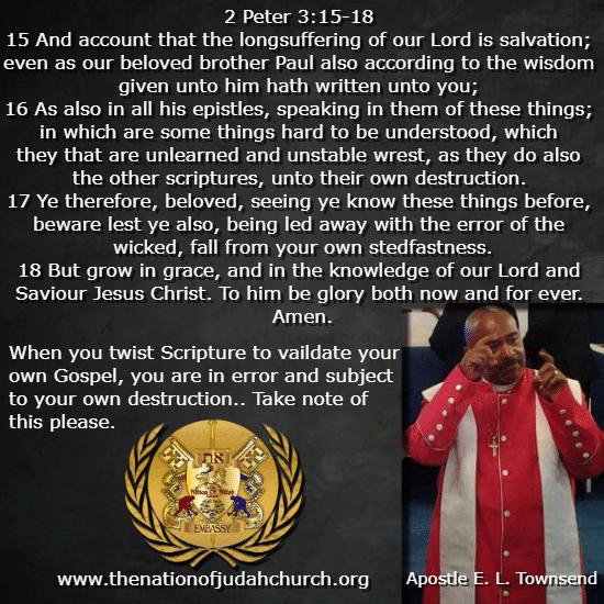 2 Peter 3:15-18 The Naion Of Judah Church